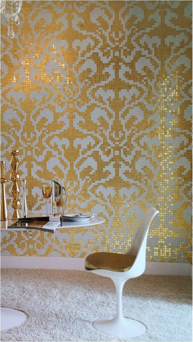 Bisazza Gold Damask Glass Mosaic Tile Allstone Gold Damask