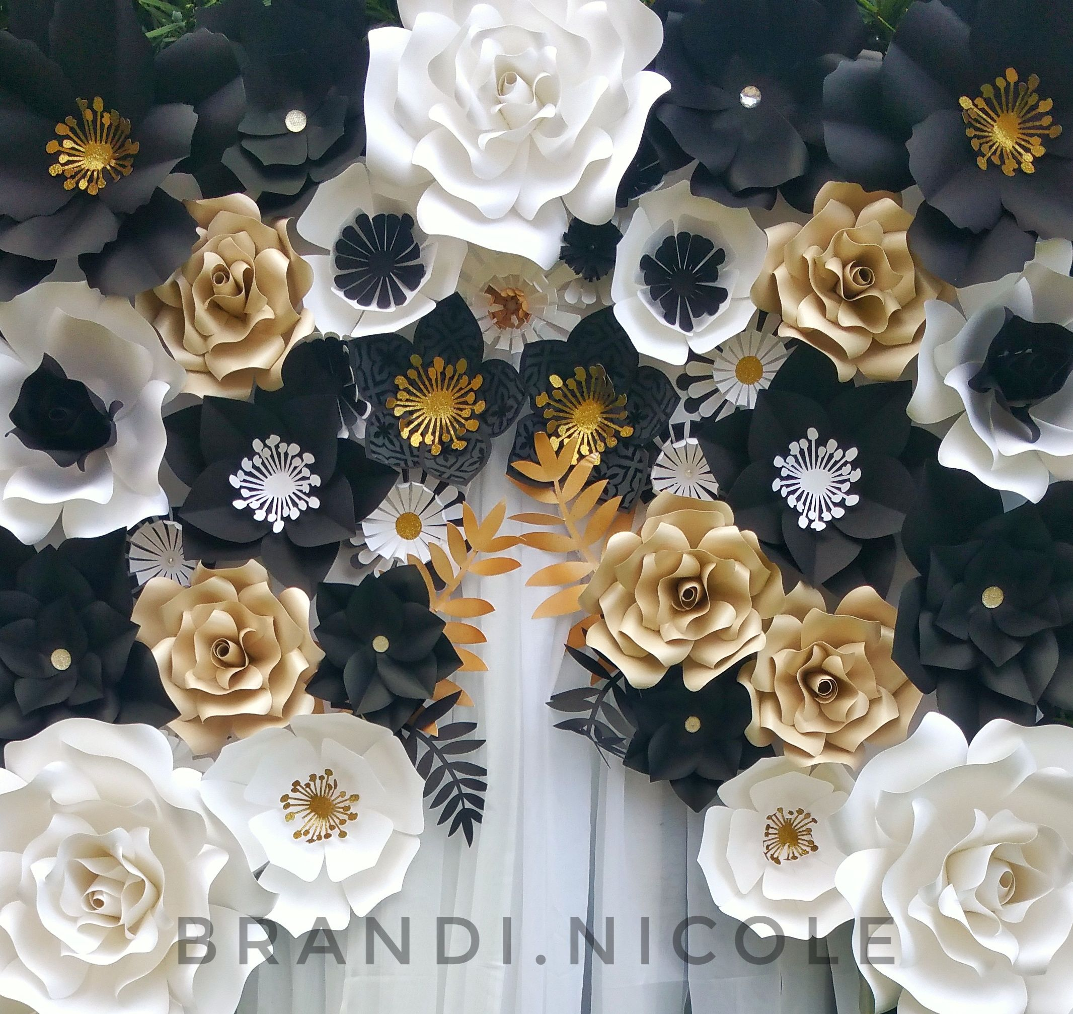 Black White And Gold Giant Paper Flower Backdrop By Brandi Nicole