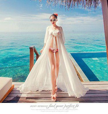 05156b7ad769a New Womens Bathing Suit Sexy chiffon Bikini Swimwear Cover Up Beach Long  Dress