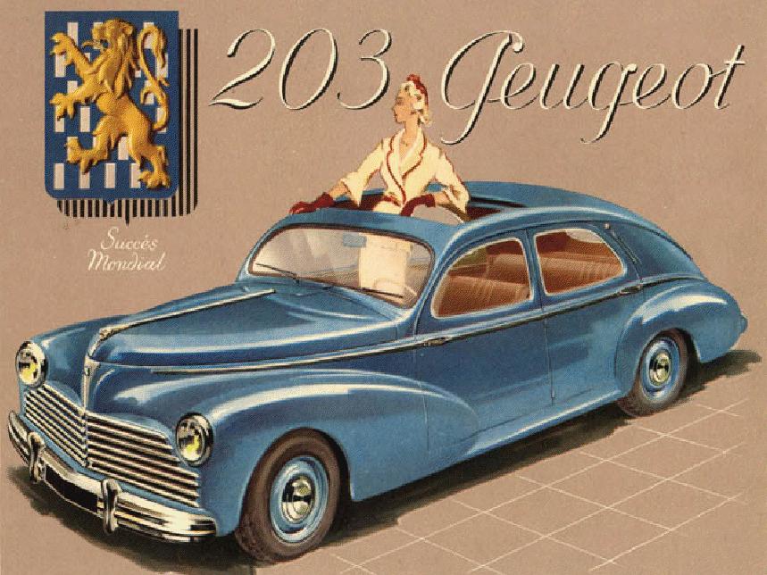 affiche publicitaire pour la peugeot 203 voiture voiture voiture peugeot et image voiture. Black Bedroom Furniture Sets. Home Design Ideas