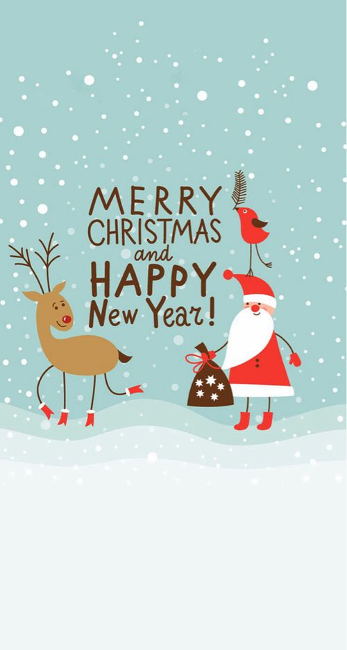 Merry Christmas And Happy New Year Snow Reindeer Santa Winter Iphone BackgroundMerry
