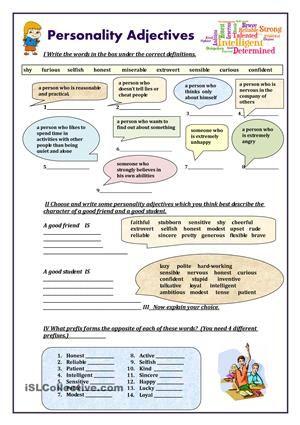 personality adjectives Grammatikk, Engelsk og Utdanning