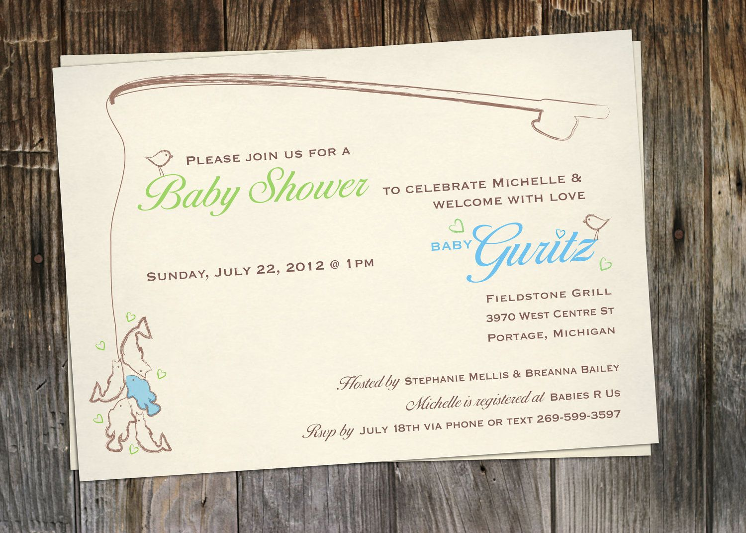 Printable Vintage Fishing Baby Shower Invitation. $12.00, Via Etsy.