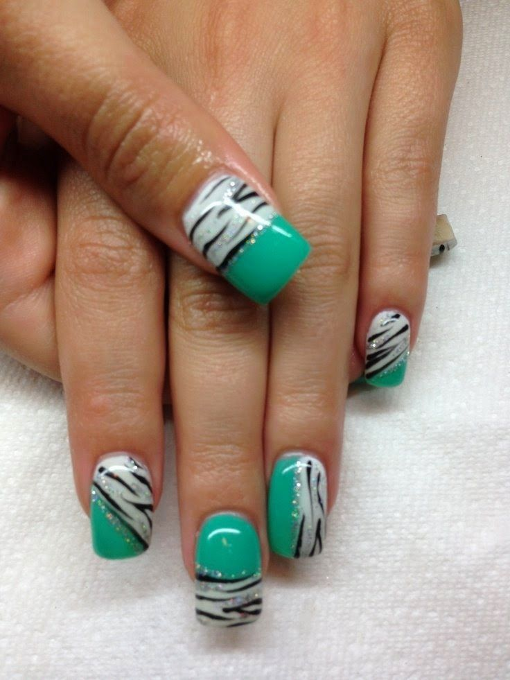 zebra nail designs-green | ◇Beauty | Pinterest | Zebra nail designs ...