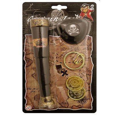 Black pirate telescope with eye patch #coins and ear ring #fancy dress #accessory,  View more on the LINK: 	http://www.zeppy.io/product/gb/2/291089549153/