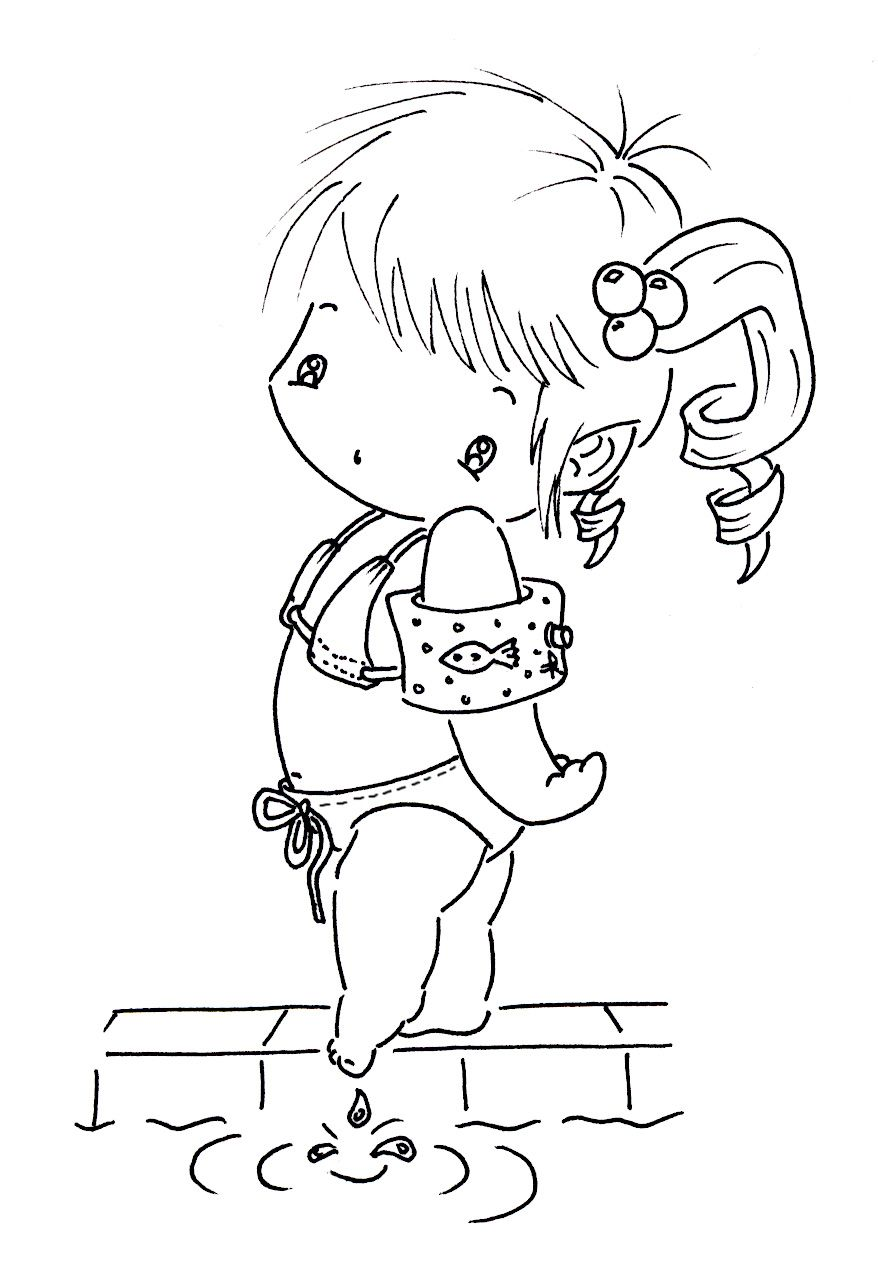 Boy swimming coloring page