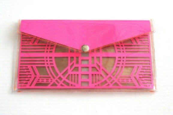 Pink and kraft clutch
