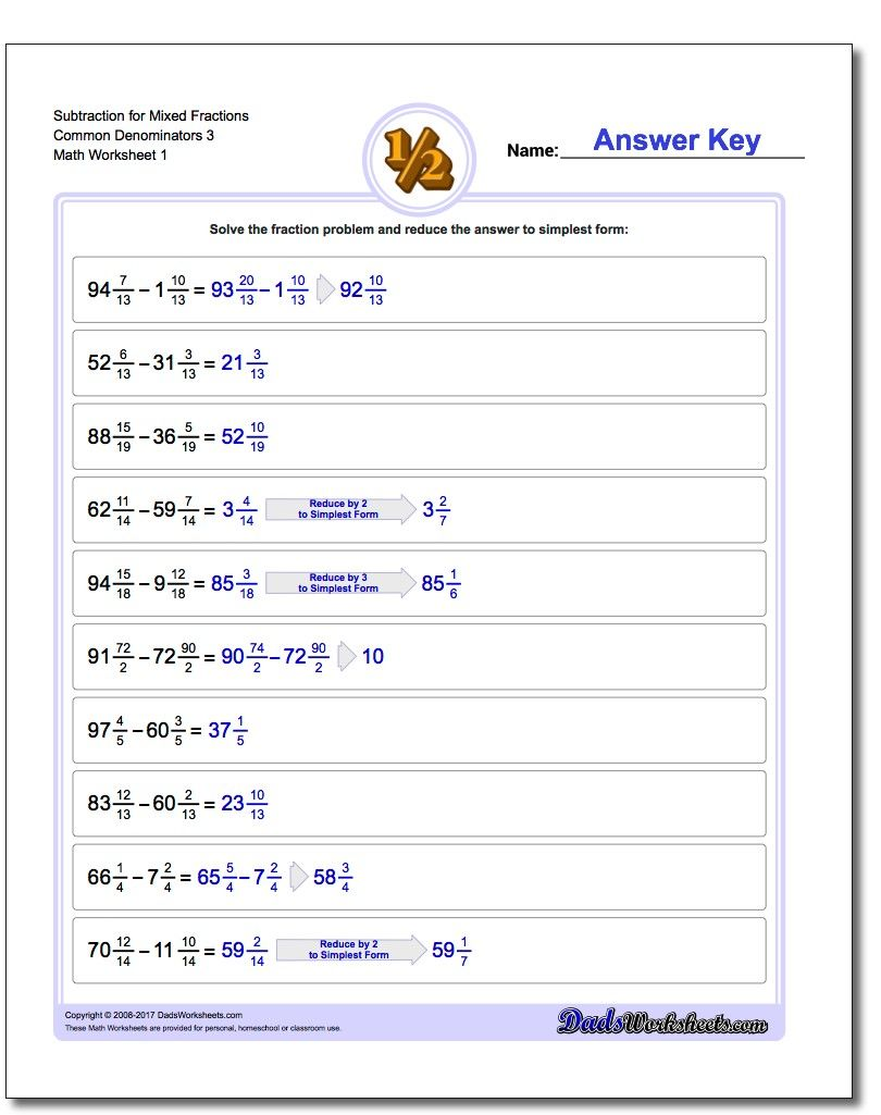 Subtraction Of Mixed Fractions With Common Denominators Worksheets Fractions Worksheets Subtracting Fractions Improper Fractions How to solve addition fractions with