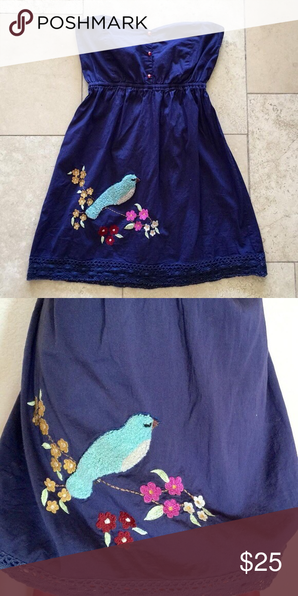Anthropologie Judith March Strapless Bird Dress 🦄 No size tag, but would best fit an XS in my opinion. Feel free to ask for measurements. Judith March from Anthropologie & Modcloth. Bird is more of a dark turquoise in person (the camera flash makes it seem lighter). 🦄 Anthropologie Dresses