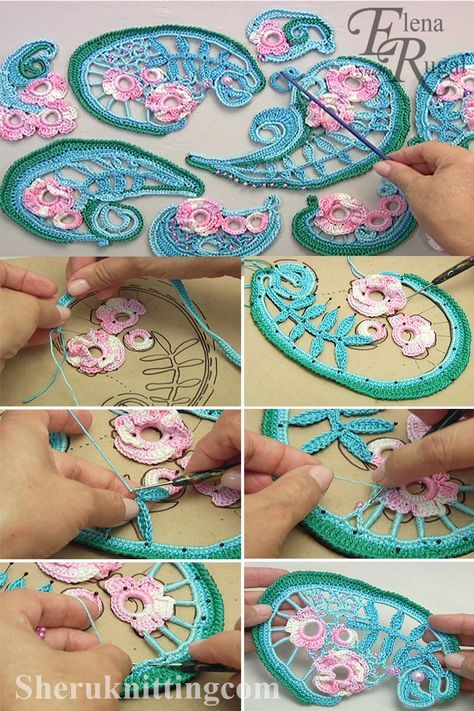 Crochet Irish Lace Project Tutorial 57 आयरिश फीता परियोजना
