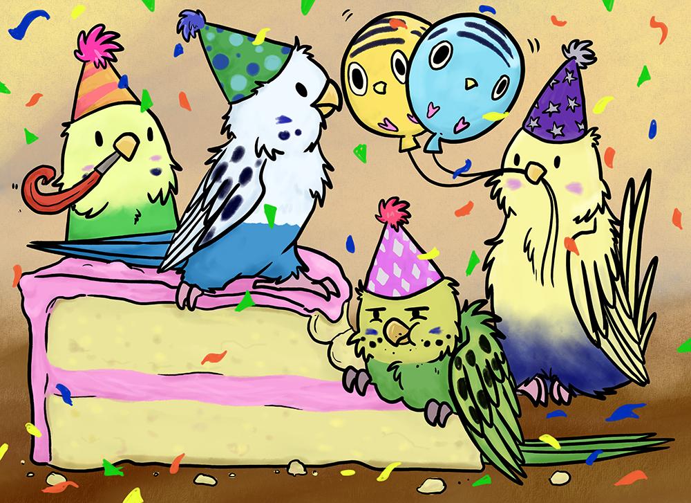 С днем рождения картинка с попугаями, открытки друзьям