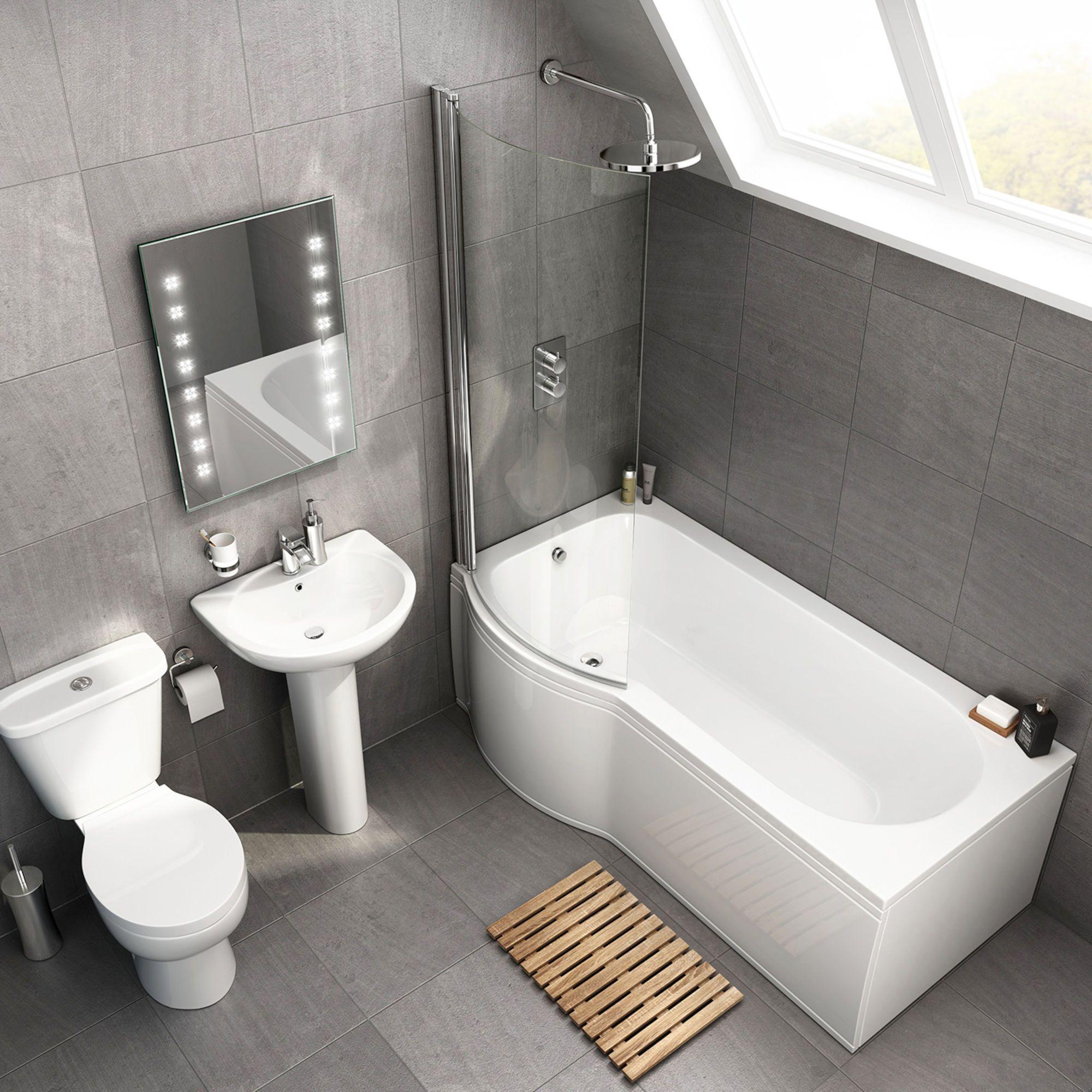 1700x850mm Quartz P Shaped Left Handed Shower Bath Suite Soak Com Small Bathroom Remodel Designs Bathroom Remodel Designs Small Bathroom
