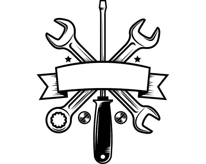 Hand Wrench 3 Tool Toolbox Bolt Construction Handyman Etsy Mechanic Logo Design Mechanical Engineering Logo Mechanics Logo