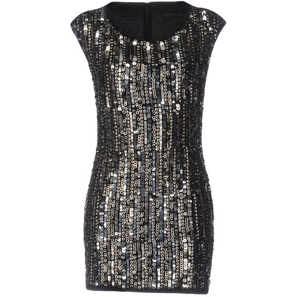 Philipp Plein Couture Short Dress (14.855 UYU) ❤ liked on Polyvore featuring dresses, black, sweetheart two-toned mini dress, sleeveless short dress, sequin dresses, short jersey dress and short tube dress