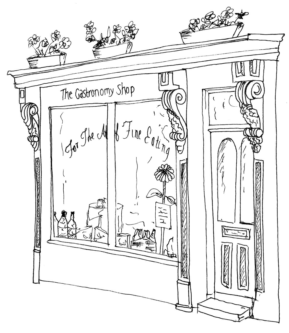 Line Drawing French Store Front