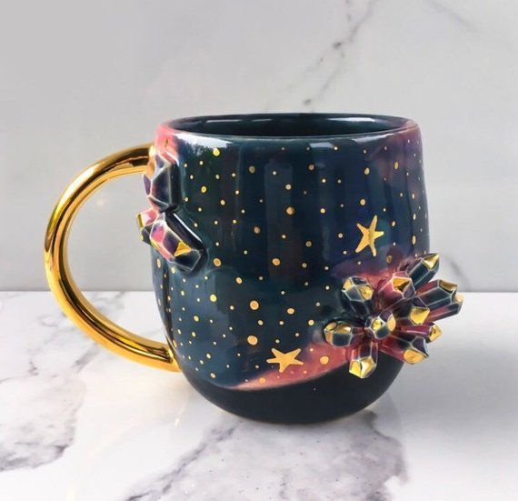 Galaxy Crystal Mug Geode Mug With 22k Gold - Heaven and Earth - by Naomi Singer, Modern Mud #coolmugs