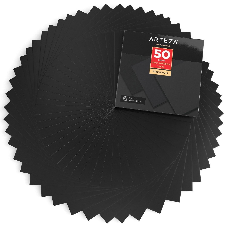 Self Adhesive Vinyl Matte Black 12 X 12 Sheets Pack Of 50 Adhesive Vinyl Matte Black Fineliner Pens