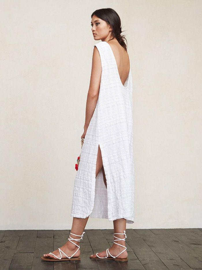 Reformation Laguna Dress // white loose fitting dress with side slit and scoop back