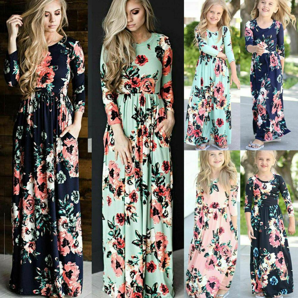 New Mother and Daughter Casual Boho Formal Maxi Dress Mommy/&Me Matching Outfit