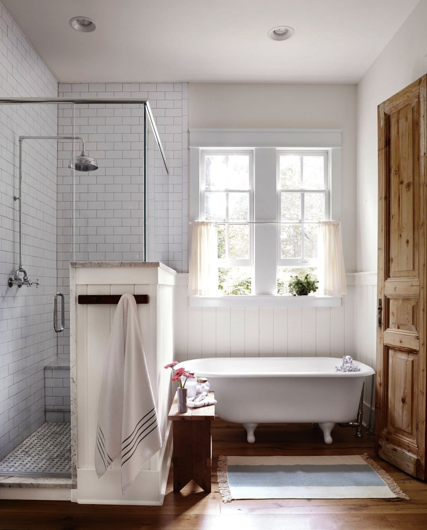 White Modern Country Bathroom With Clawfoot Tub Walk In Shower