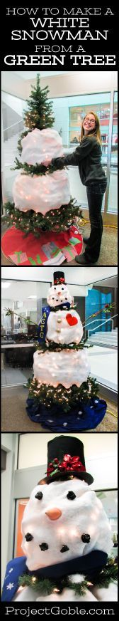 How to Create a White Snowman from a Green Tree Could be a great re-use of a raggedy artificial tree...: