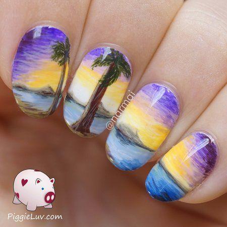 Island beach nail art #creative #nailartstory  #nailart - bellashoot.com