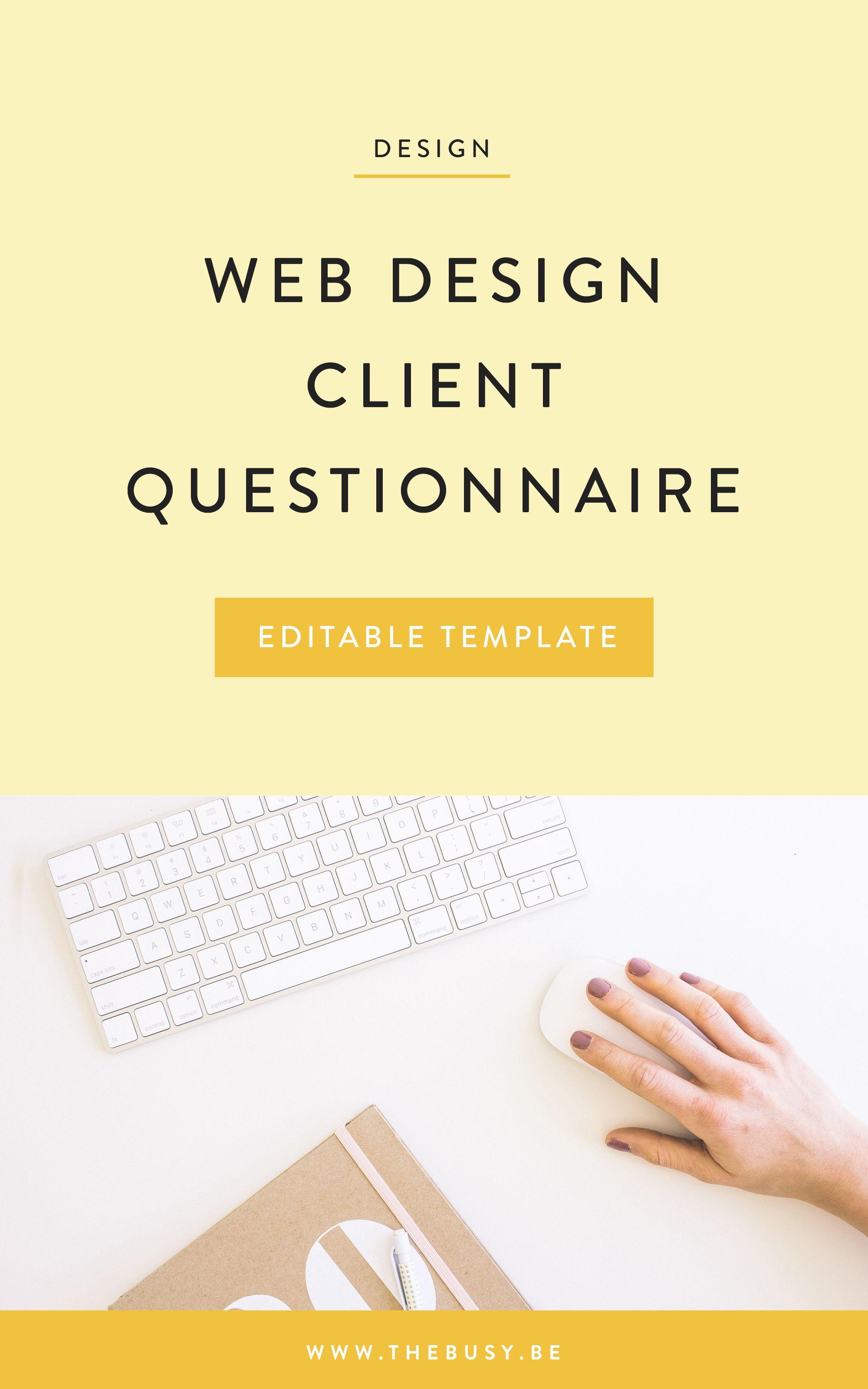 Web Design Client Management Web Designer Client Management Client Questionnaire Editable Client Questi Client Questionnaire Design Clients Web Design Tips