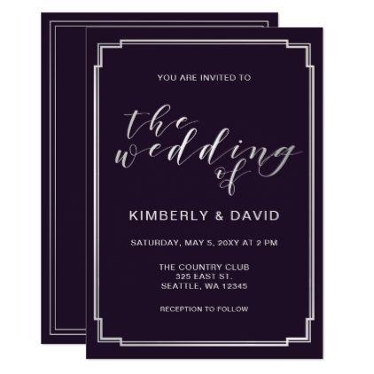 Simple Purple Silver Wedding Card wedding invitations diy cyo
