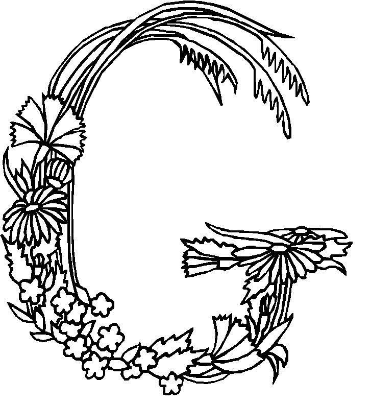 G .coloring page Alphabet Flowers Kids-n-Fun | dibujos | Pinterest ...