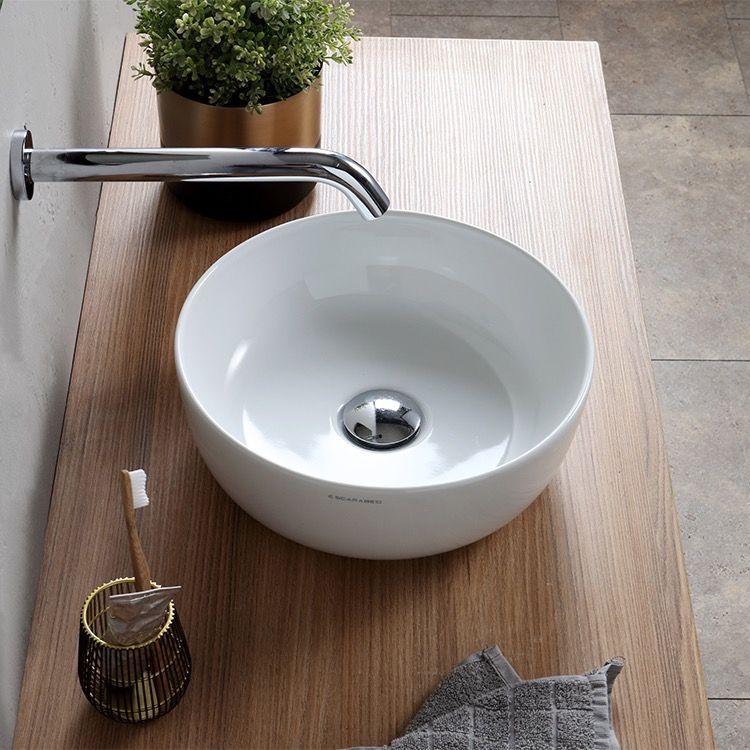 Small Round Ceramic Vessel Sink Bathroom Sink Sink Vessel Sinks