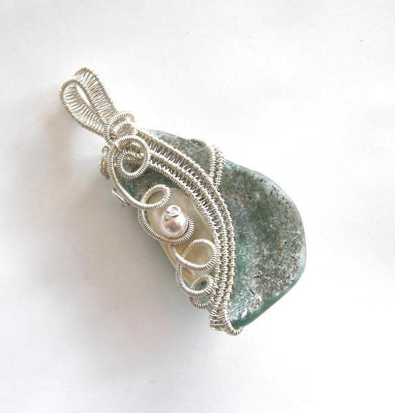 images of wire woven jewelry | Sterling Wire Woven Sea Glass by ...