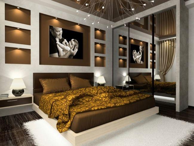 wohnideen schlafzimmer modern braun wandlichter eingebaut Home - schlafzimmer modern braun