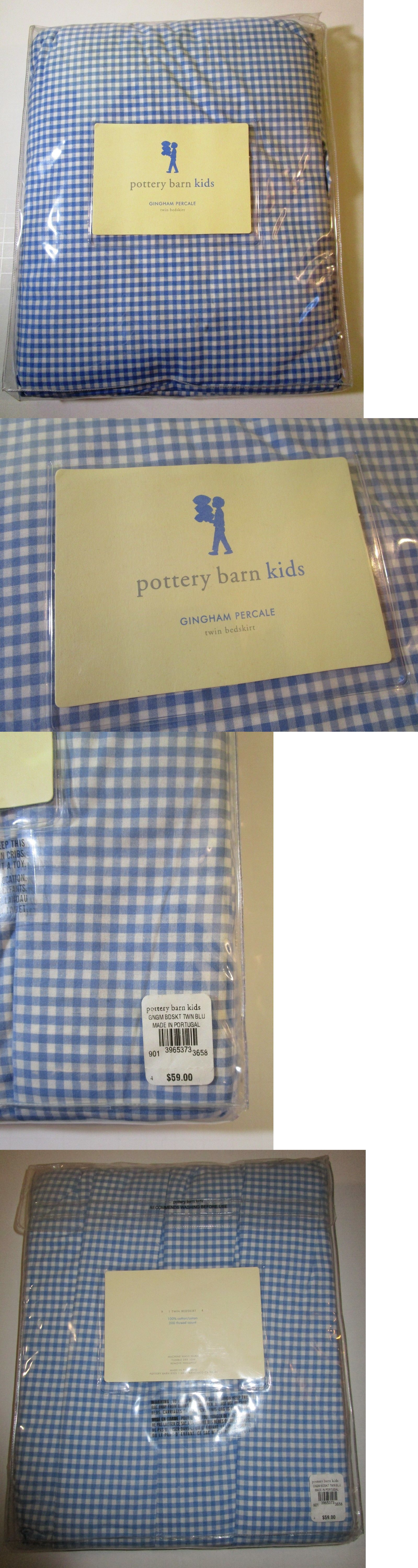 Bed Skirts 66726 Pottery Barn Kids Twin Size Blue Gingham