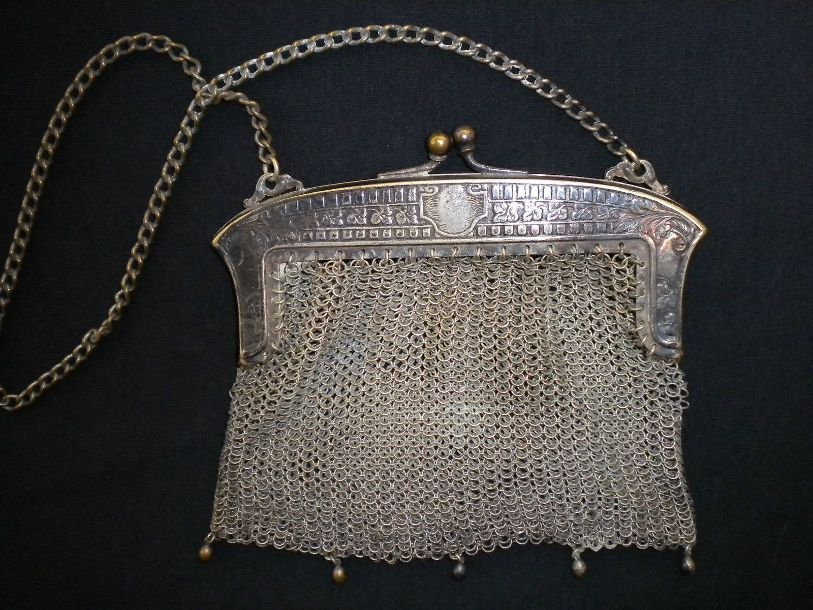 Vintage Antique Metal Chain Mesh Purse Marked German Silver With Ornate Frame Dangles