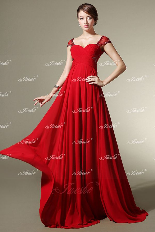 Modest Empire A-line Cap Sleeves Red Chiffon Evening Dress ...