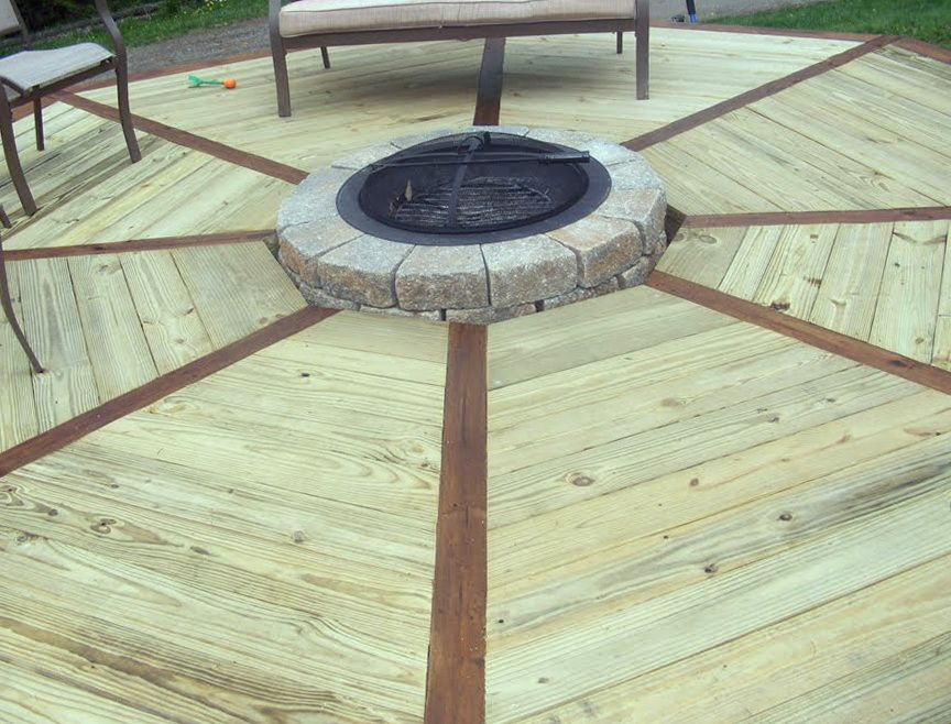 Octagon Deck With Fire Pit Deck Fire Pit Fire Pit Patio Deck