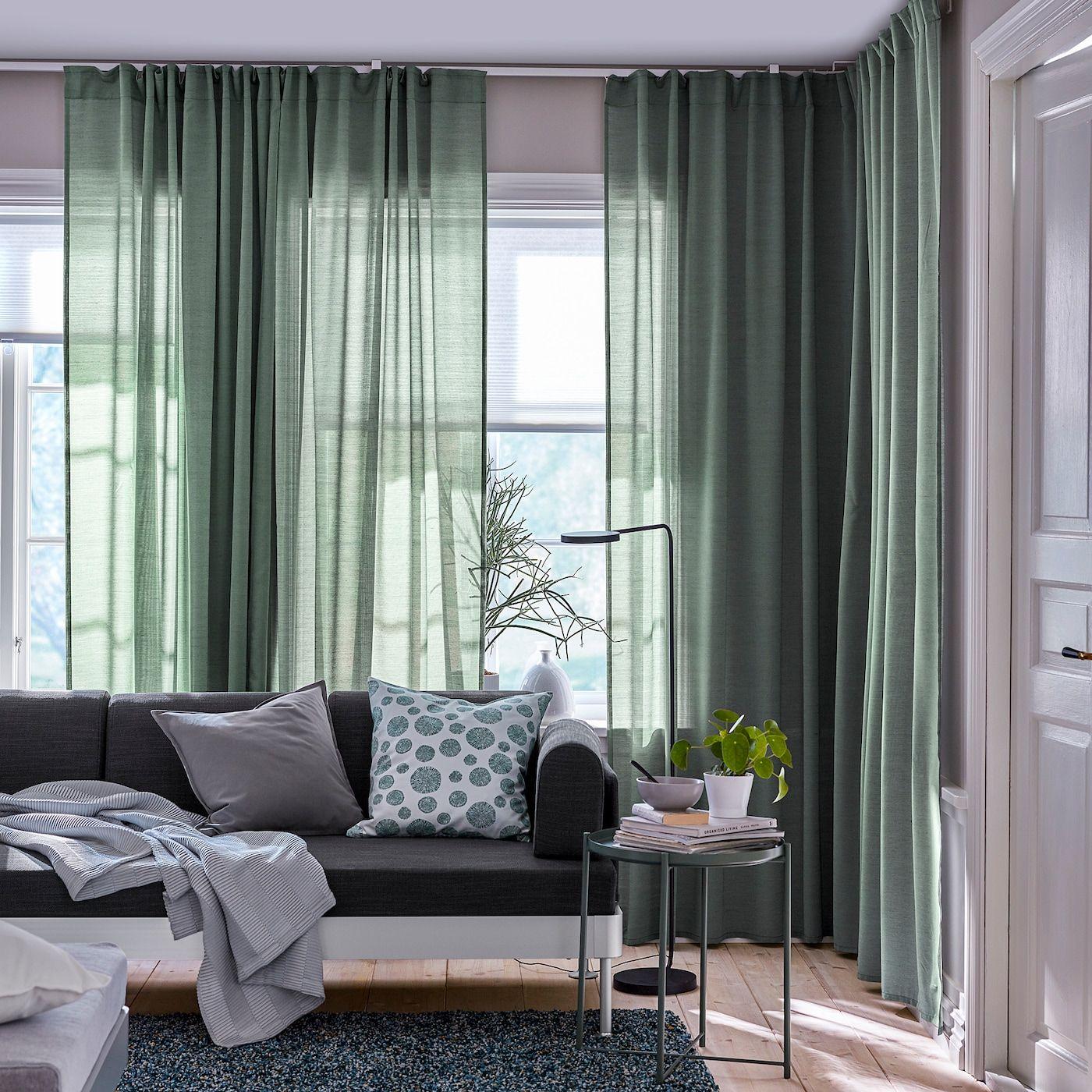 IKEA - HILJA Curtains, 1 pair in 2020   Living room green ...