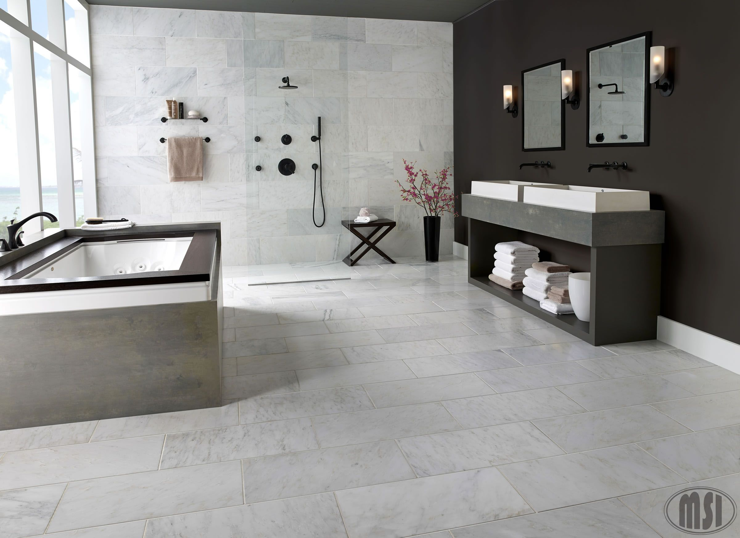 Dreamy White Marble Bathrooms Are The Best Modern Or Traditional Arabescato Carrara 12x24 Marble Tiles