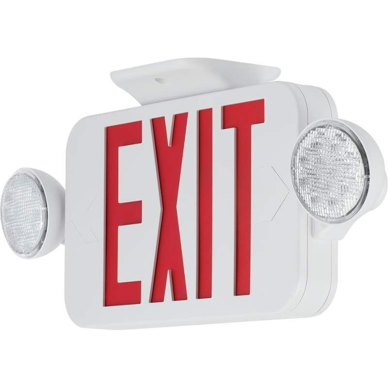 Progress lighting pecue ur 30 rc red led exit sign with flood lights progress lighting red led exit sign with flood lights and remote white commercial lighting emergency lights exit signs mozeypictures Choice Image
