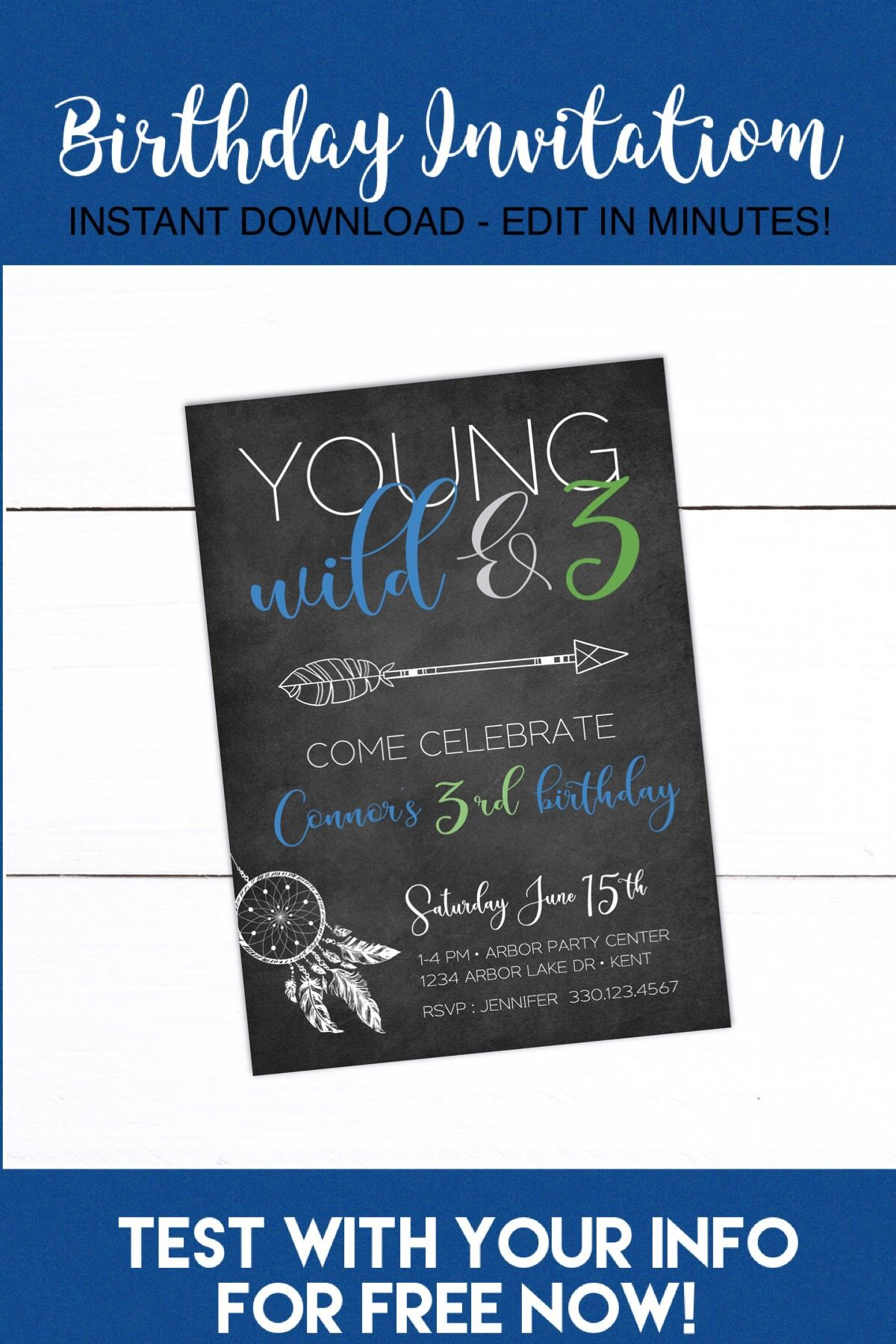 young wild and three birthday invitation young wild and 3