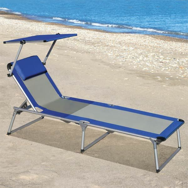 Portable Beach Lounge Chair With Adjustable Uv Protected Canopy