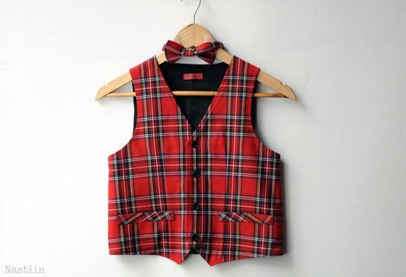 Boys red vest and bow tie Toddler boy vest Baby boy bow tie Infant