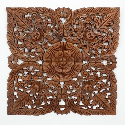 Lotus Flower Teak Panel 24 Square Flint Ave Natural Wood