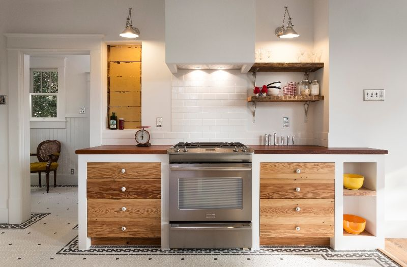 White Kitchen Cabinets With Natural Wood Interior