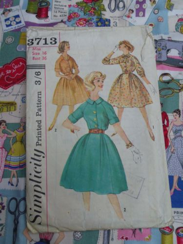 1950's Vintage Dressmaking Pattern Bust 36 inch Size 16 two styles of Dresses | eBay