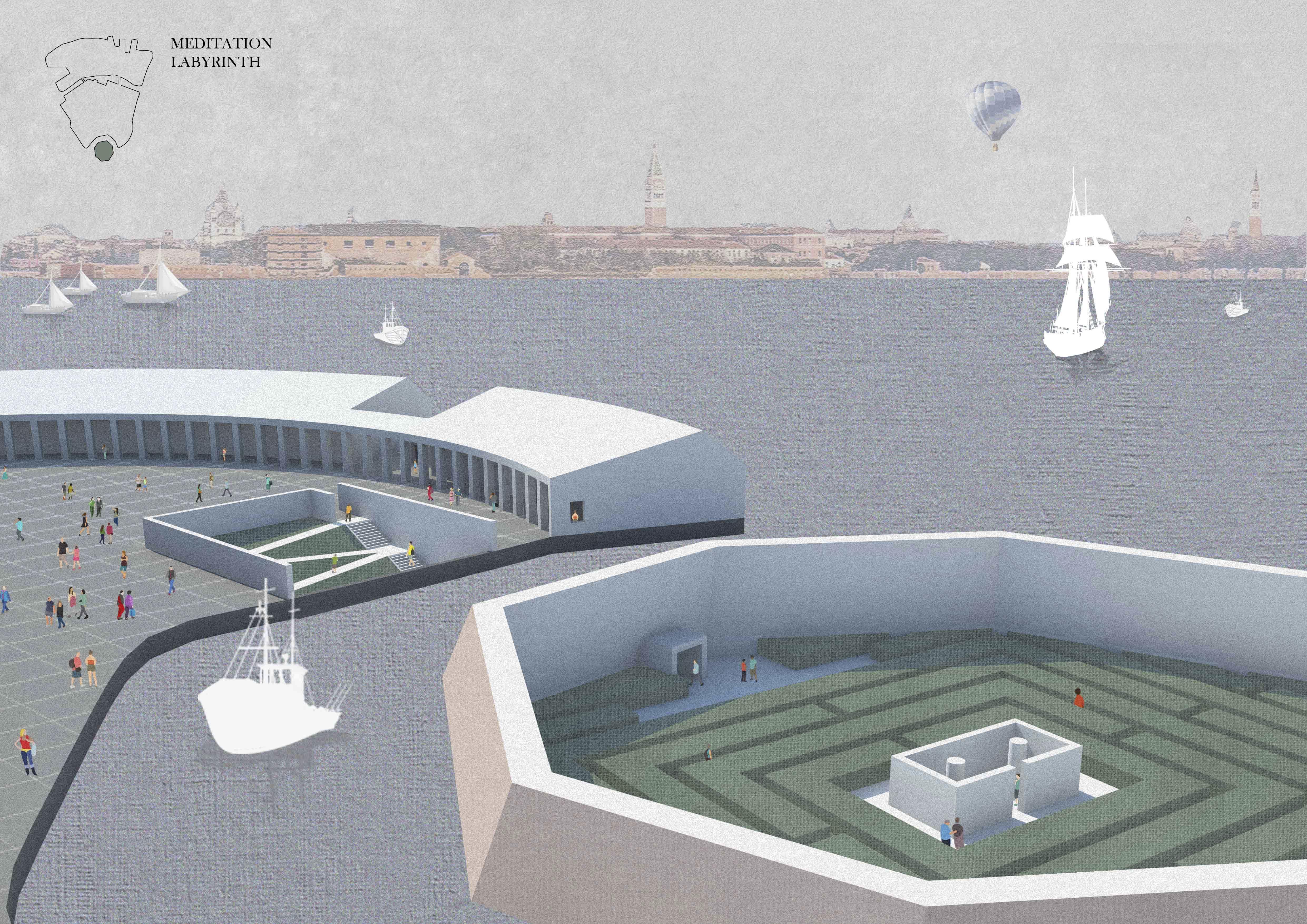 Concorso per l'Isola di Poveglia - Venezia Vista sull'ottagono e giardino della memoria profonda.