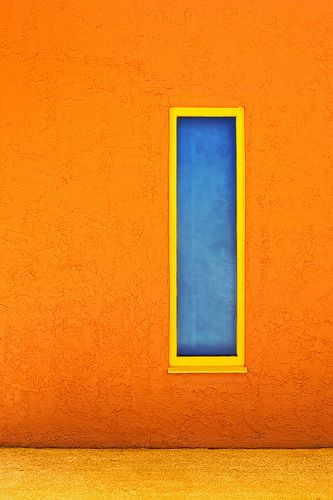Color Contrast Blue Window In Orange Wall Split Complementary Colors Orange Aesthetic