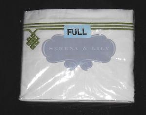 Serena & Lily Gobi Embroidered Sheet Set Full NWT Green/White 300 TC Grass