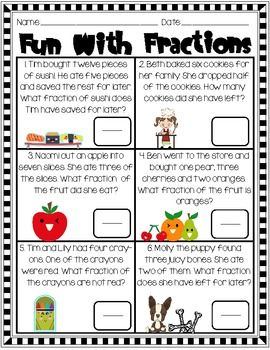 Fraction Fun For 2nd Grade Math Fractions Fun Fractions 2nd Grade Math Math fraction word problems worksheets