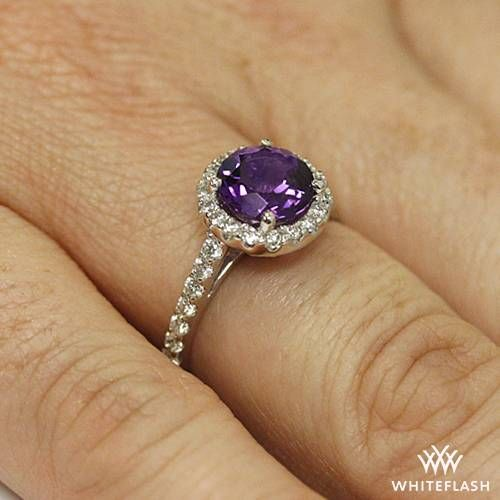 18k White Gold Amphora Amethyst Diamond Right Hand Ring Right